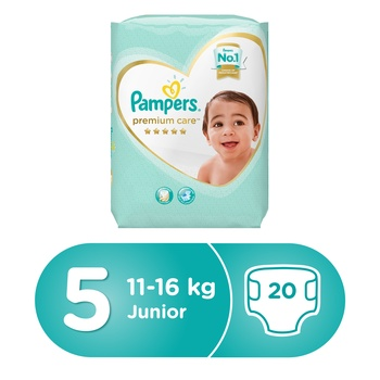 Pampers Premium Care Diapers  Size 5  Junior  11-18 kg  Carry Pack  20 Count