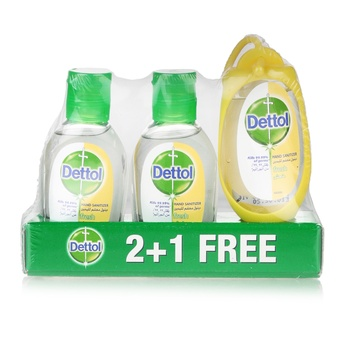 Dettol Spring Fresh Anti-Bacterial Instant Hand Sanitizer 3 x 50 ml with Bag Tag @ 33% Off