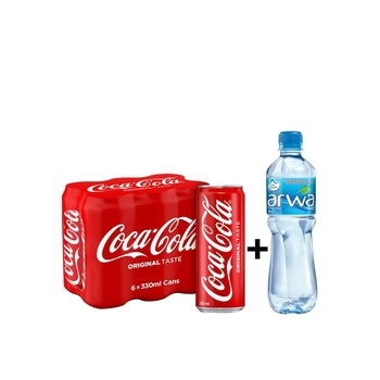 Coca-Cola 6 x 330ml Cans + Arwa Water 6 x 500ml Free
