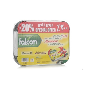 Falcon Aluminum Container with Lid 10 Pcs Twin Pack