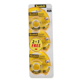 3M Scotch Double Sided Tape Val Pack 2+1