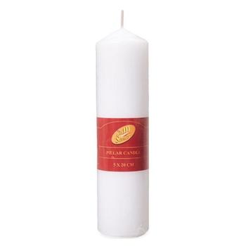 Samar Pillar Candle 5X20 Cm White