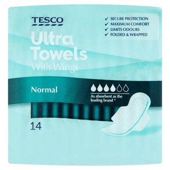 Tesco Ultra Regular Towels With Wings 14s