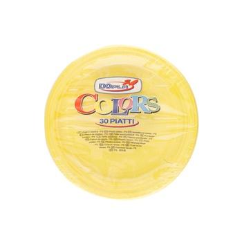 Dopla Disposables Color Line  Coloured Plates 30 pcs x 20 cm  Yellow (01492)