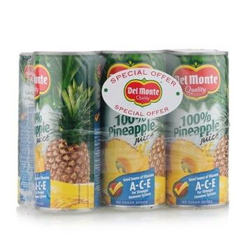 Del Monte 100% Pineapple Juice No Sugar 240ml Pack of 6