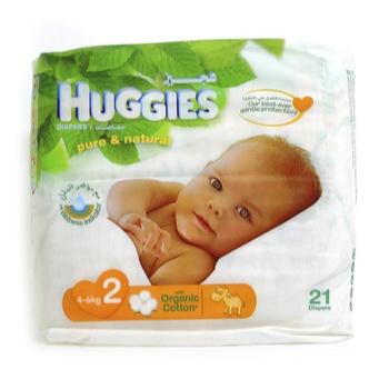 Huggies Pure & Natural Organic 2 (4-6kg) 21pcs