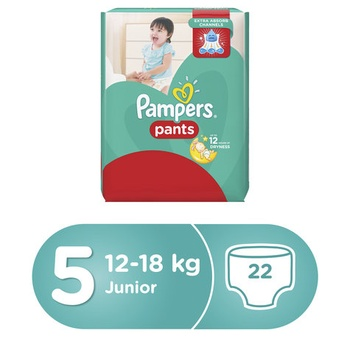 Pampers Pants Diapers Size 5 Junior 12-18kg Carry Pack 22 Count