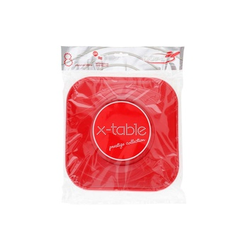 Dopla Disposables 8 Big Squared Plates 23x23 Red (80044)