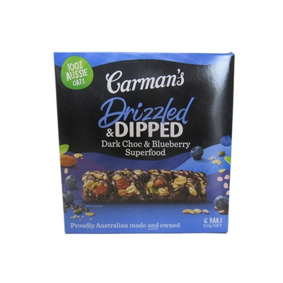 Carman'S Drizzled & Dipped Dark Choc & Blueberry Superfood Bars 210g