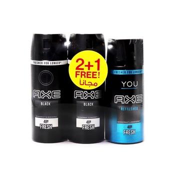 AXE Black Deodorant and Body Spray for Men 150 ml Pack of 3