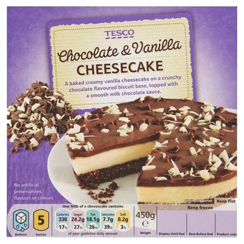 Tesco Chocolate & Vanilla Cheesecake 450g