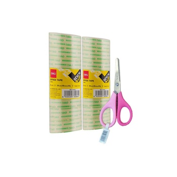 Deli  2Roll Stationery Tape + Scissor