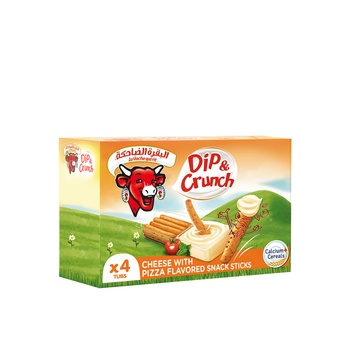 La Vache qui rit Dip & Crunch Cheese and Pizza Flavoured Breadstick Snack 4 Pieces 140g