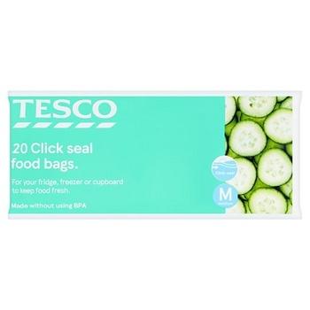 Tesco Reseal Food Storage Bags Medium 20S