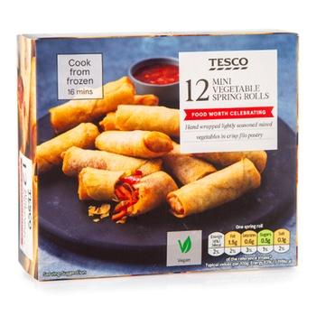 Tesco 12 Mini Vegetable Springrolls 216G