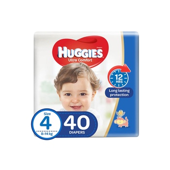 Huggies Ultra Comfort Diapers Size 4 8-14 Kg Value Pack 40 Diapers Pack Of 2