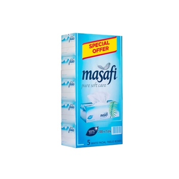 Masafi Tissue Facial Pure Soft Care 2 Ply X 200 Sheets X 5 Boxes