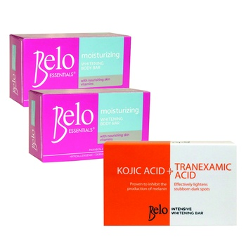 Belo Essentials Moisturizing Whitening Body Bar 2X135g + Kojic & Tranexamic Acid Whitening Soap 65g