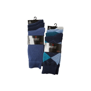 Infinity Mens Cotton Assorted 3 Pairs Of Socks