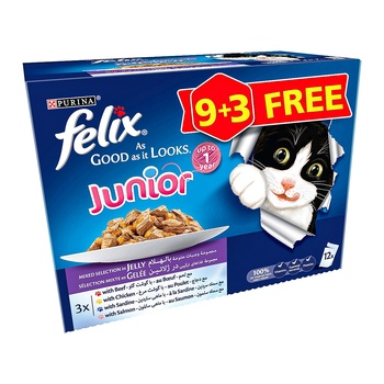 Purina Felix As Good As It Looks Jelly With Vegetables Wet Cat Food Pouch 100g (12 Pouches)