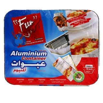 Al Bayader Aluminium Containers With Lids 3055 cc 10 pcs