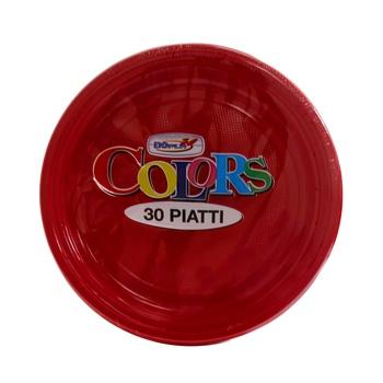 Dopla Disposables Color Line  Coloured Plates 30 pcs x 20 cm  Red (01488)