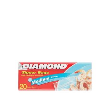 Diamond Zipper Freezer Bags Medium 20s