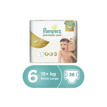 Pampers Premium Care Diapers, Size 6, Extra Large, 15+ Kg, Value Pack, 36 Count