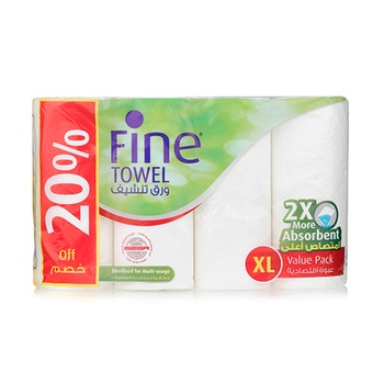 Fine Household Towel White 4x100x2Ply
