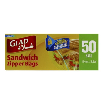 Glad Sandwich Zipper Bags 14.4 X 16.5cm 50pcs