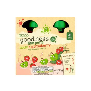 Tesco Goodness Apple & Strawberry Fruit Slurpers 4 X 90g