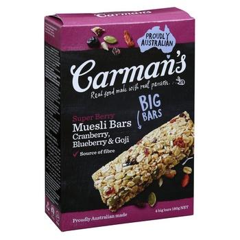 Carmans Super berry Muesli bars Cranberry,Blueberry& Goji 180g