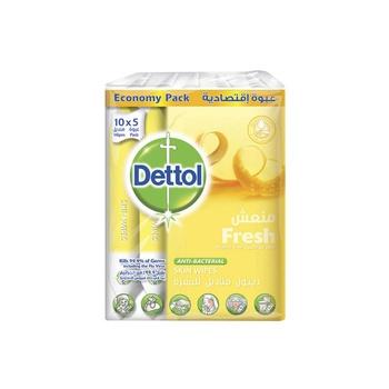 Dettol Skin Wipes Economy Pack Fresh 10s (5 Packs)