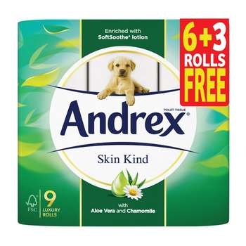 Andrex Toilet Tissue Skin Kind 9 Rolls x 241 Sheets x 2 Ply  (6 + 3 Rolls Free)