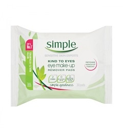 Simple KIND TO SKIN Eye Make-up Remover Pads 30 Counts