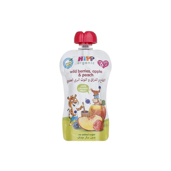 HiPP Peach Apple Blueberry & Raspberry Puree 90g