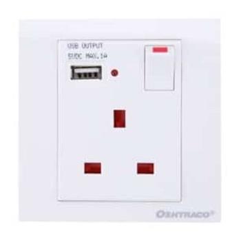 Oshtraco Fixed Wall Socket With USB Port