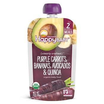 Happy Baby Organics Clearly Crafted Stage 2 Meals Purple Carrots, Bananas, Avocados & Quinoa 113g Pouch
