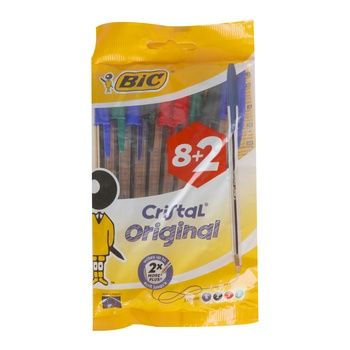 BIC Cristal Ball Pen Assorted 10 Pc