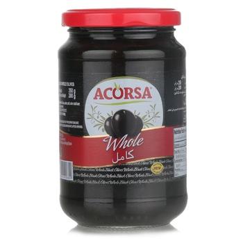 Acorsa Spanish Black Olives Plain Jar 350g