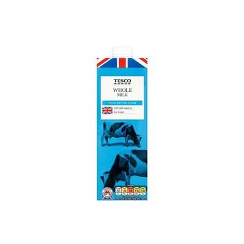 Tesco British Whole Milk 1 ltr