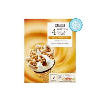 Tesco Toffee & Vanilla Cones 110ml Pack of 4