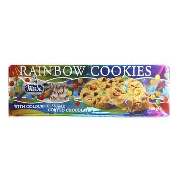Merba Rainbow Cookies With Sugar Coated Chocolates 150g