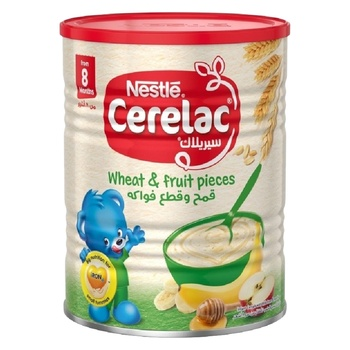 Nestle Cerelac Wheat & Fruit Pieces Infant Cereal Tin Pack 400g