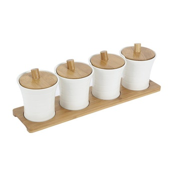 Home Selection Set of 4 Thread Design Canister on Bamboo Tray