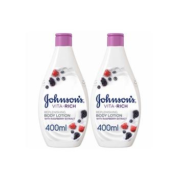 Johnsons Body Lotion - Vita-Rich Replenishing Raspberry Extract 400Ml Pack Of 2