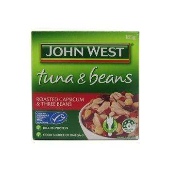 John West Tuna & Beans Roasted Capsicum And Three Beans 185g