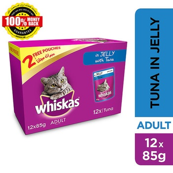 Whiskas In Jelly with Tuna Wet Cat Food Pouch  Multipack 85g x (10 +2free)