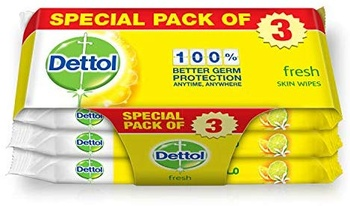 Dettol Fresh Antibacterial Skin Wipes 10 Count Three Pack