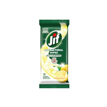 Jif Antibacterial Multi-Purpose Wipes With Citrus Fresh 80 Sheets